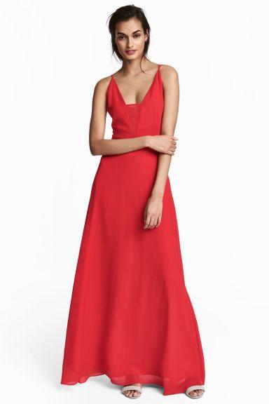 Vestido comprido em chiffon - Vermelho - SENHORA | H&M PT 1