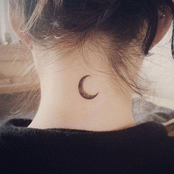 Simple Moon Tattoo on Back of Neck.