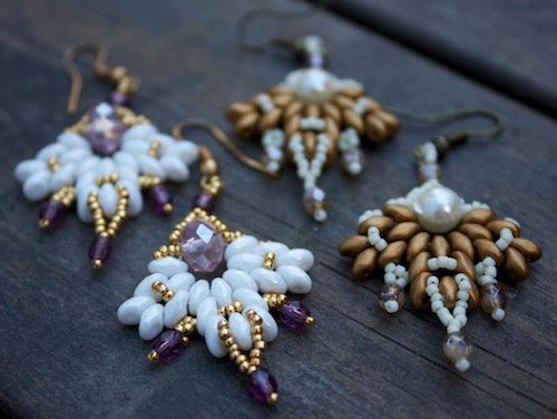 TUTORIAL  Snowflake beadwoven earrings with Super by MadeByOlga, $10.00