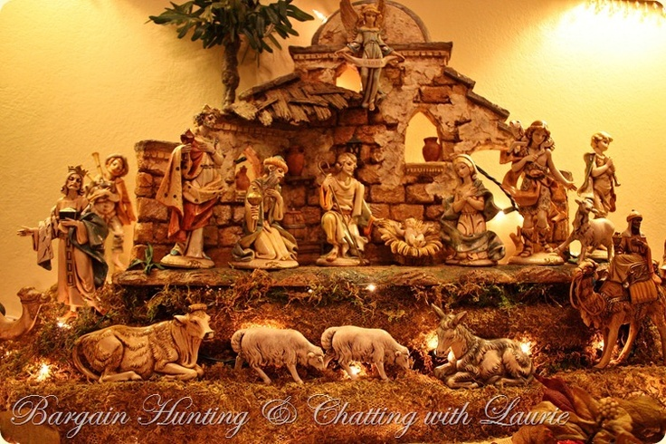 Vintage Fontanini Nativity Mantel Display Christmas Mantel by Laurie Eve.