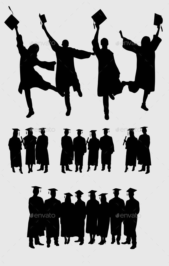 Graduation Quotes: Graduation Silhouettes, Art Vector Design. Ai CS, JPEG And
