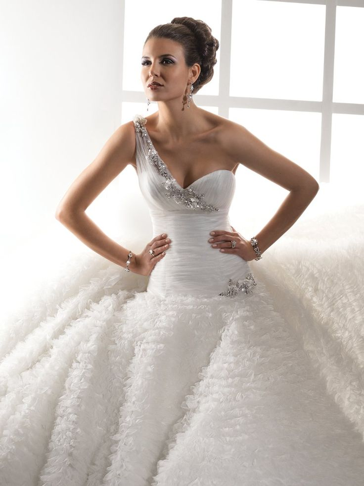 Great One Strap Wedding Dresses u via Avant Garde Ivory White