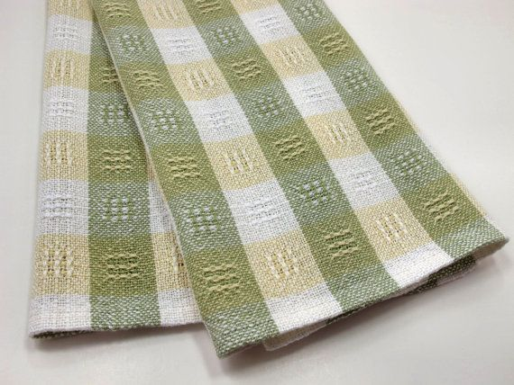 Kitchen Dish Towel Handwoven Green Yellow