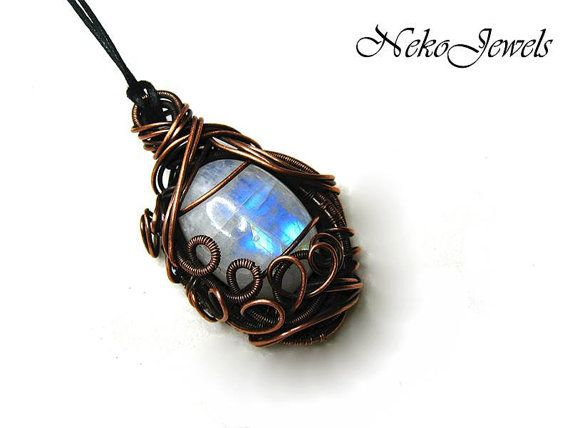 Rainbow moonstone necklace with bare copper complex by NekoJewels