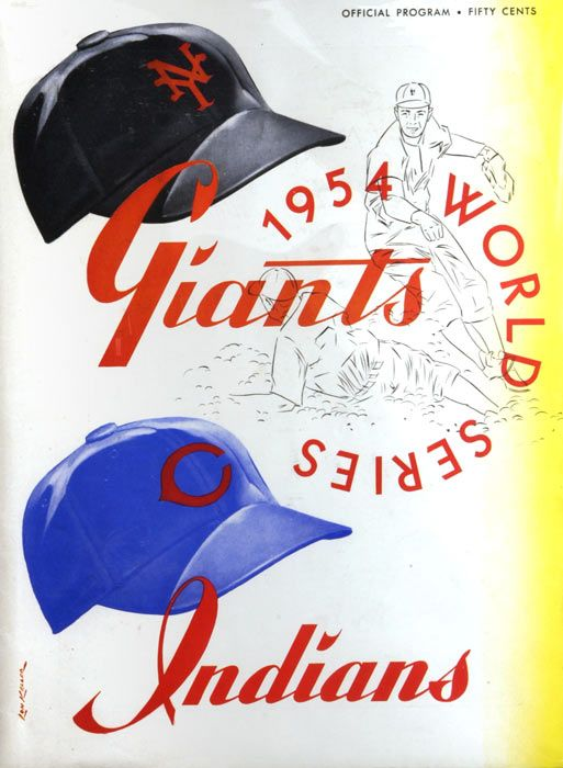 "1954 World Series Program. The 1954 World Series matched the New York Giants against Cleveland Indians. The Giants swept the Series in 4 games to win their first championship since 1933, defeating the heavily favored Indians, who had won an AL-record 111 games in the regular season. The Series is perhaps best-remembered for ""The Catch"", a sensational running catch made by Giants center fielder Willie Mays in Game 1."