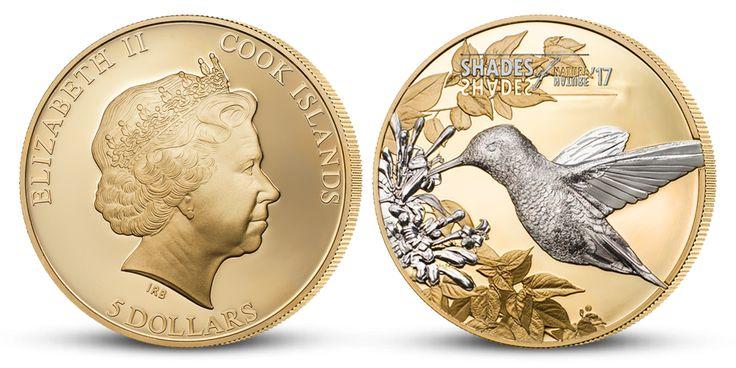 Kolibrík - strieborná minca plátovaná zlatom