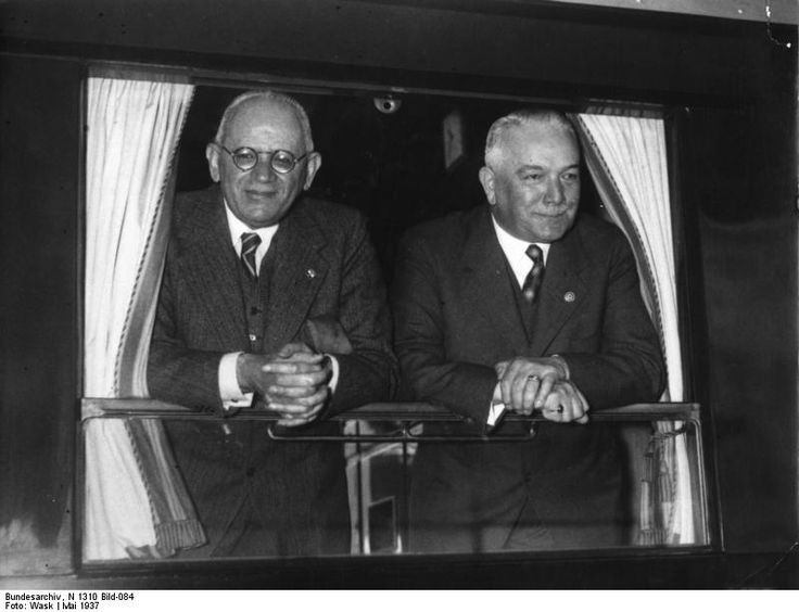 German Foreign Minister Konstantin von Neurath and Italian Ambassador to Germany Bernardo Attolico at the window of a rail car, Rome, Italy, May 1937