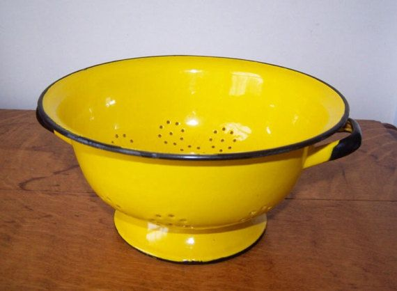 Yellow Colander, Yellow Enamelware, Yellow Enamel Bowl, Yellow Sink Strainer, Yellow and Black, Berry Picking Bowl, Garden Strainer, Vintage
