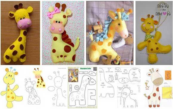 moldes para hacer jirafas de fieltro                                                                                                                                                     Más