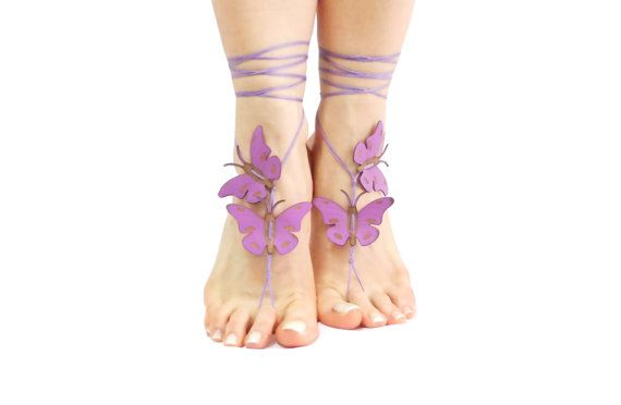 Lilac purple butterfly barefoot sandal yoga belly dance beach