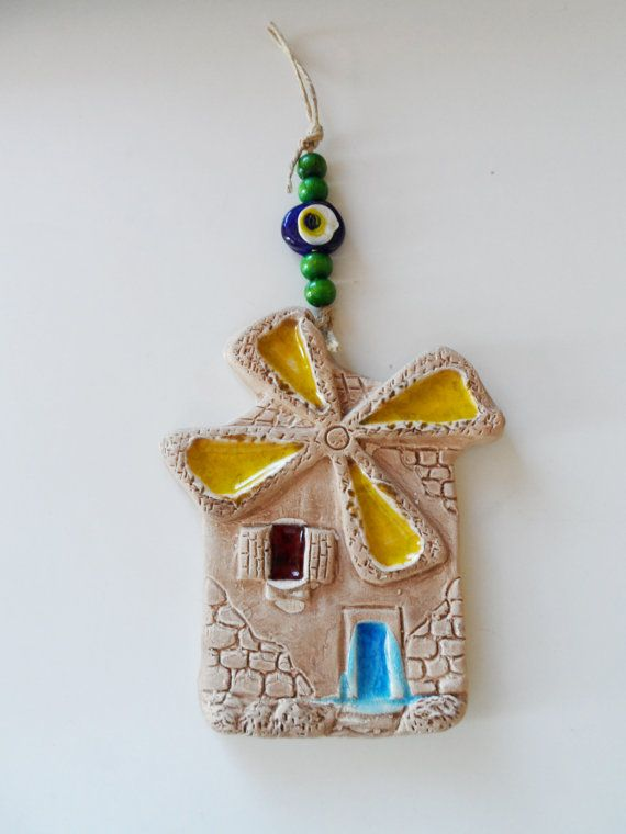 CLAY WINDMILL...Pottery home wall hanging gift,Handmade unique windmill design, Windmill,Blue,Yellow,Green