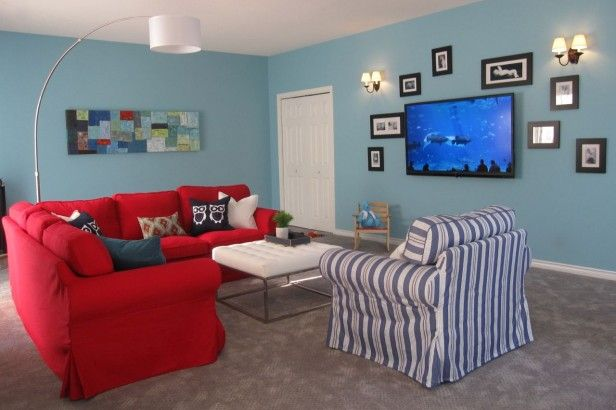 Elizabeth's Turquoise & Red Family Room: Before & After | Maria Killam | True Colour Expert | Decorator bm passion Blue 2053-50