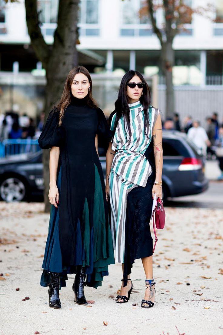 paris fashion week street style spring 2018 giorgia tordini gilda ambrosio loewe blue green dress striped top midi skirt black boots ankle strap sandals