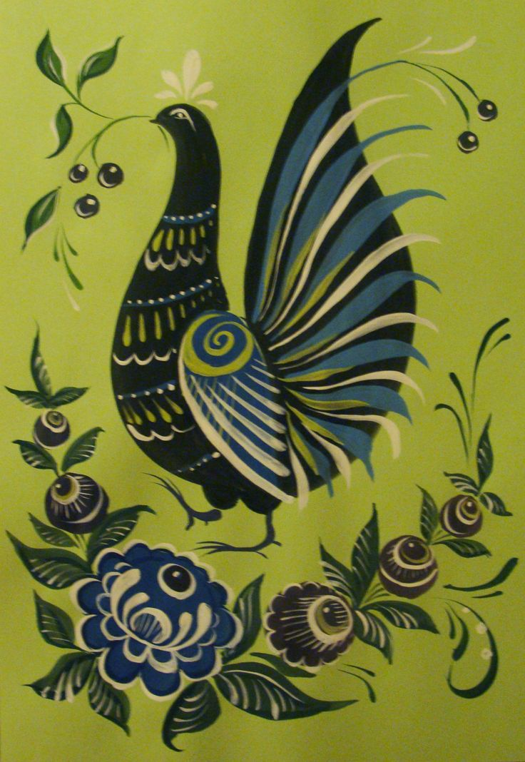 Folk Gorodets painting from Russia. A floral pattern with a pheasant. #art #folk #painting #Russian
