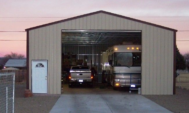 Garage kits project examples gallery click on an image for Metal rv garage