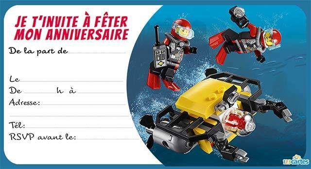 Invitation anniversaire Lego the city 2 anniv lo Pinterest Lego