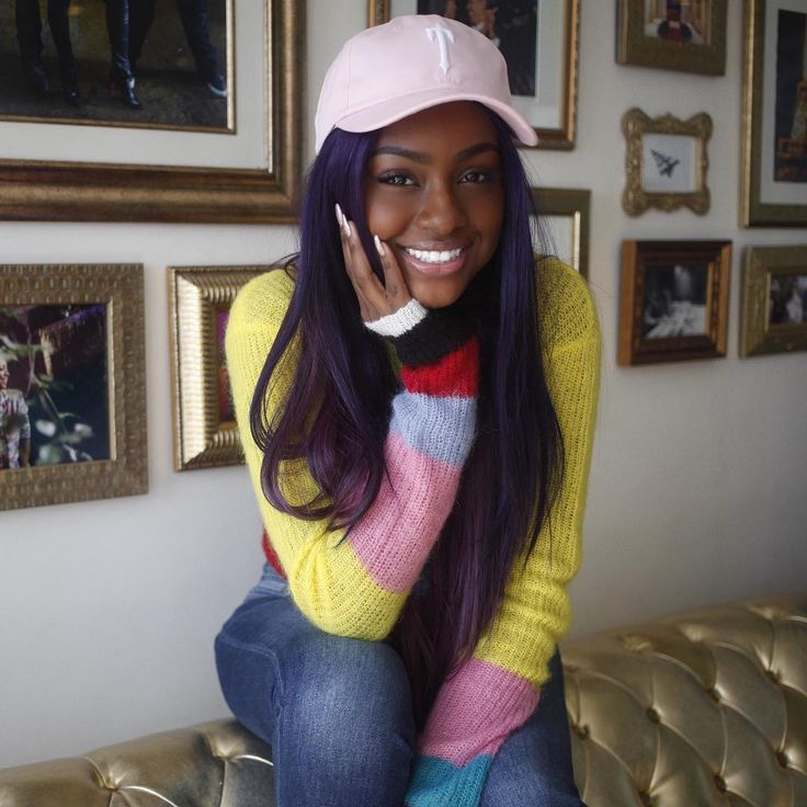 justine skye, black girl with colored hair, colorful hair, purple hair, hair color inspiration