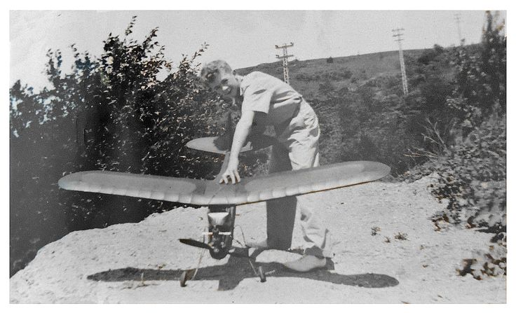 Vintage 1940 Photo Album of a Young Man and His Model Airplanes. This image came from a leather bound album that was on eBay containing photographs of a young man in 1941 who along with his father had a passion for building powered model airplanes.