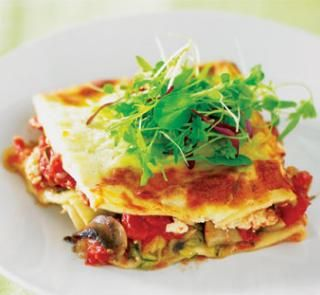 Lazy vegetarian lasagne - Instead of using lasagne sheets, try layering slices of eggplant (about 5mm thick). Fresh basil adds even more flavour.