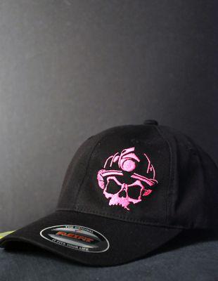 Skull Logo Ladies Pony Tail Cap (pink logo)- Black Helmet Firefighter Apparel