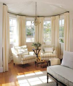 Brilliant Bay Window Curtains Curved Curtain Rods For We Need These Our Dining Room Throughout Inspiration