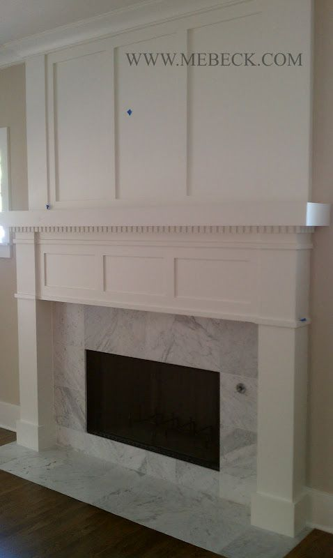 White Fireplace Boxed Trim. Simple & cheaper than stonework or tile floor to ceiling