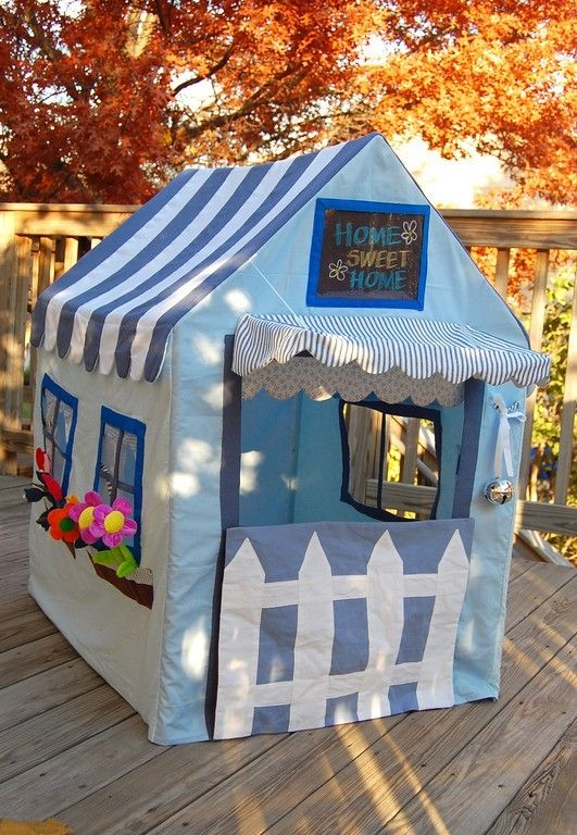 loft bed ideas - picket fence, chalkboard fabric sign, clear plastic for windows. widow boxes with flowers.