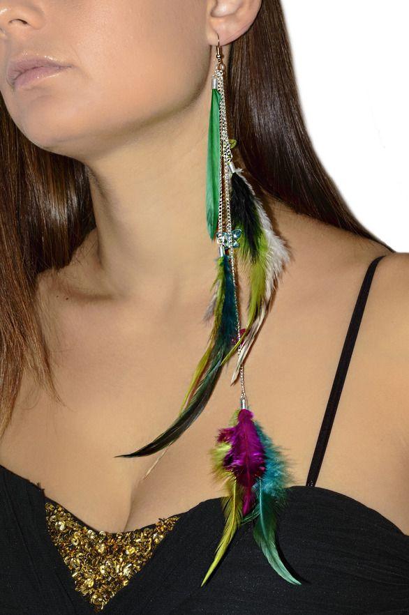 Boucle d'oreille pendante en plumes multicolore - Rose, bleu, fuchsia, noir et blanc : Boucles d'oreille par les-bijoux-de-petiteauguai