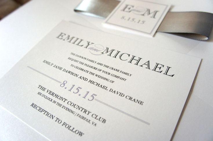 Modern Wedding Invitation, Silver Wedding Invitation Suite, Modern Wedding Invites, Gray, Belly Band, Modern Invite - SAMPLE SET