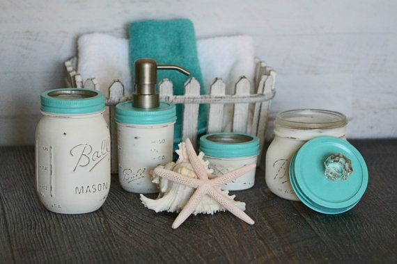 Nautical mason jar bathroom set, stainless pump, rustic, distressed, shabby chic, cottage, country, home decor, soap dispenser