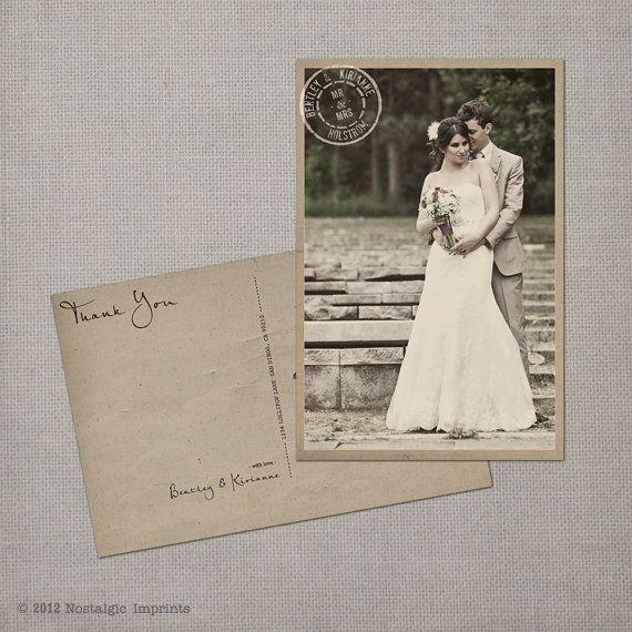 Wedding Thank You Card Vintage Postcard