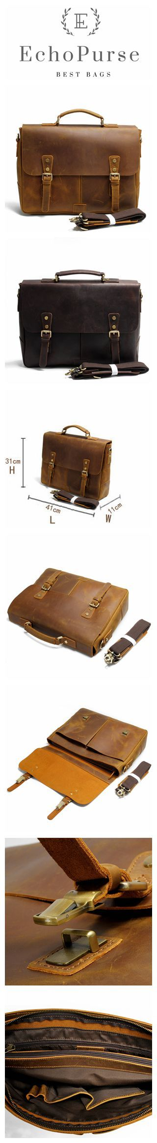 Top Grain Leather Men's Handbag, Shoulder Bag, Vintage Laptop Bag 68048