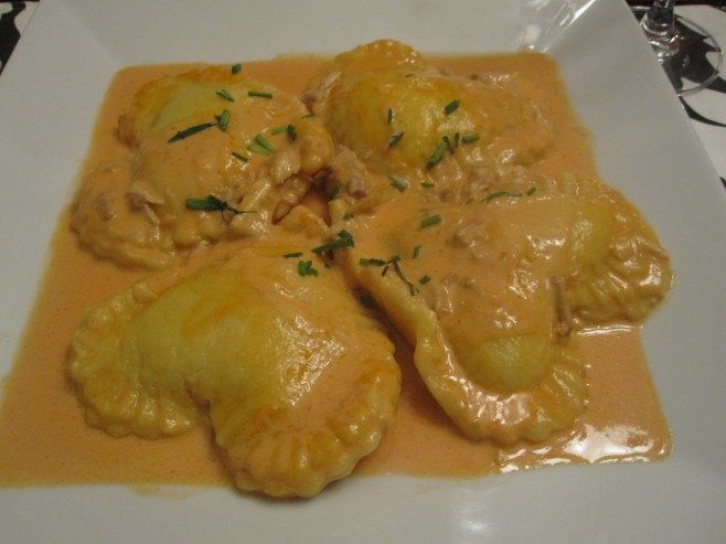lobster ravioli with crabmeat cream sauce.