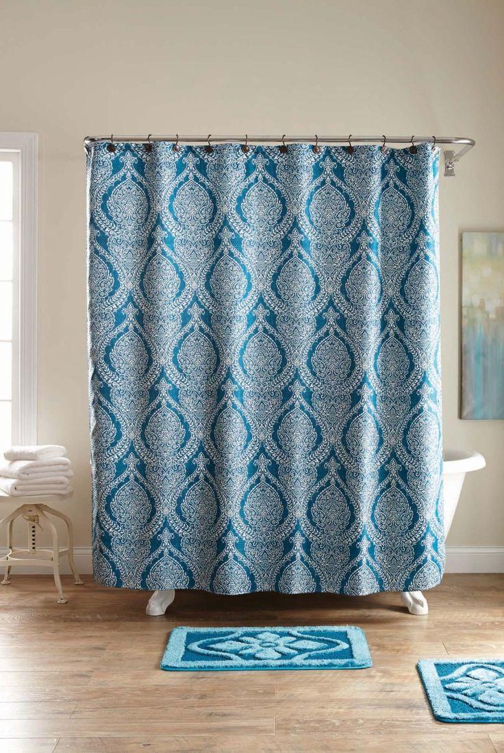 Grayson silver gray jacquard fabric cloth bathroom bath shower curtain - Teal Damask Fleur 15pc Shower Set