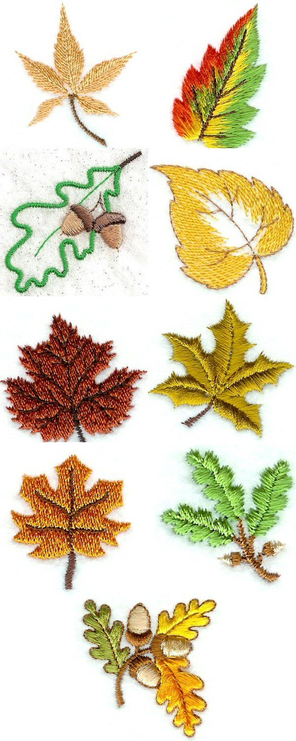 "Mini Autumn Leaves Embroidery Machine Design Details. Looks like ""Designs by Sick"" is starting to run the stitching ""grain"" direction in multiple ways, to best mimic the real thing in embroidery. Most of  these are done that way!"