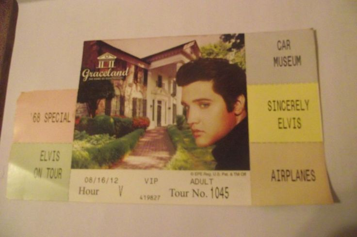 VIP 2 USED Graceland Ticket Stubs Elvis Presley 68 Special On Tour Car Museum Ai