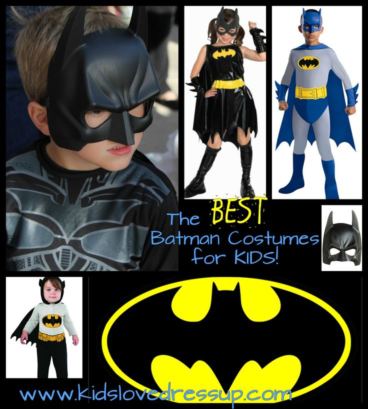 What are the BEST Batman costumes for boys, girls, toddlers, and infants? What Batman costumes are best for YOUR little Batman fan? Check out the top picks here on the post at www.kidslovedressup.com!   batman costumes kids, batman costume girls, batman costume boys, batgirl costumes, batman costumes for baby, baby batman costumes, batman dress up