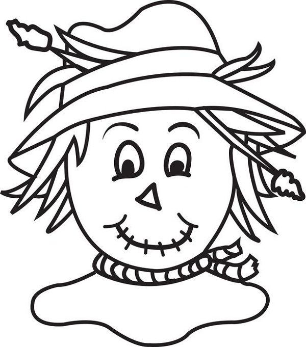 scarecrow head coloring page - November Coloring Pages Free