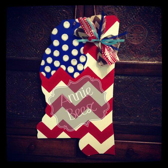 Patriotic Mississippi Flag Door Hanger by anniebeez38852 on Etsy