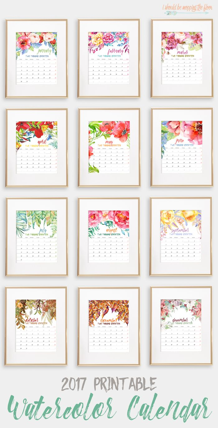 2017 Printable Watercolor Calendar   This beautiful 12-month calendar is the perfect accent to any decor. Instantly print and display. Each page fits an 8x10 frame.