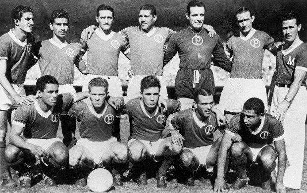 PALMEIRAS CAMPEÃO DA COPA RIO DE 1951 - Em pé: Salvador, Dema, Túlio, Juvenal, Fábio e Luís Villa; Agachados: Liminha, Ponce…