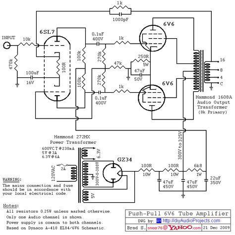 Драйвер 6SL7 / Push-Pull (PP) 6V6 / 6V6GT ламповый