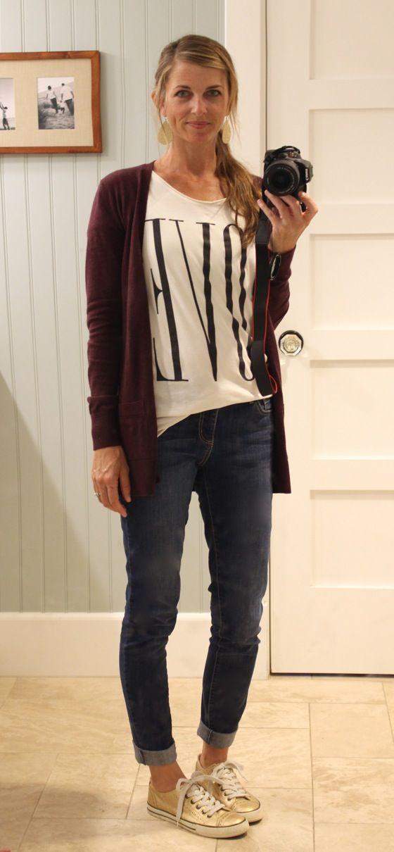 plum cardigan, graphic tee, cuffed jeans