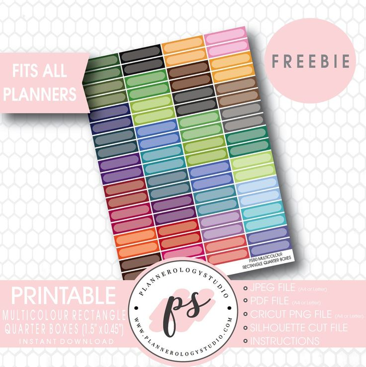 Multicolour Rectangle Quarter Boxes Printable Planner Stickers (Freebi – Plannerologystudio