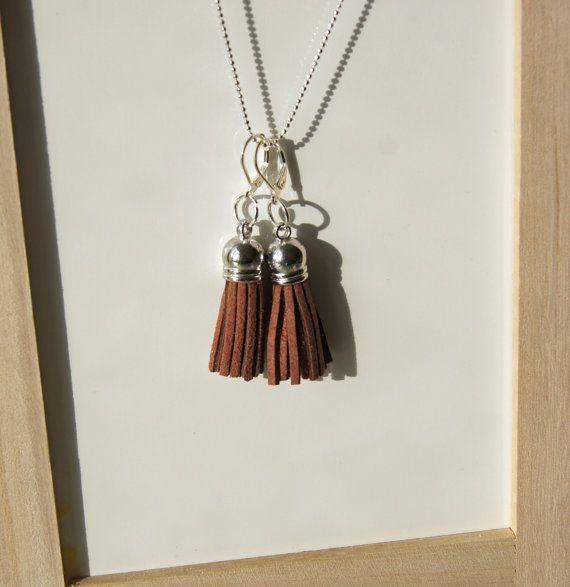Bohemian Brown Faux Leather Tassel Earrings by InspiredDesigns4YOU, $25.00