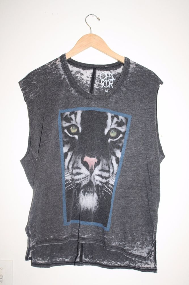 Chaser LA Tiger Cut Off Sleeve Tee Tank Top Medium Vintage Black New $68  #Chaser #GraphicTee