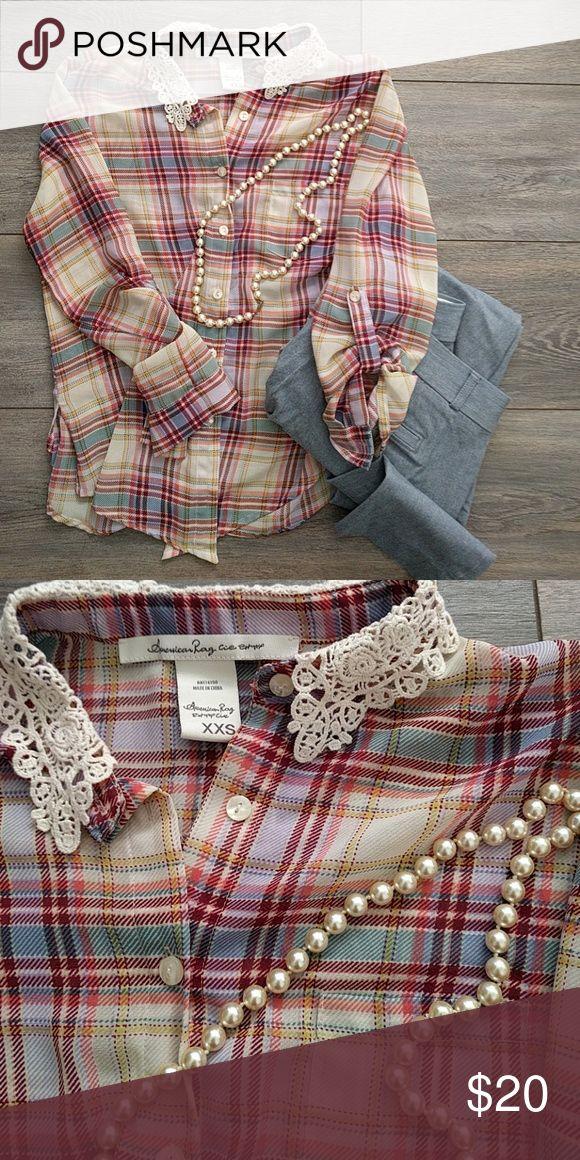 +AMERICAN RAG+ plaid fall lace button down Unique and upbeat American Rag Tops Button Down Shirts