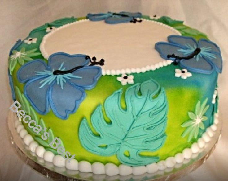 Hawaiian theme cake - fondant and buttercream