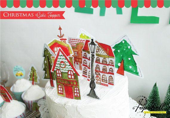 Christmas Cake Topper printable for Christmas Dinner by Popobell