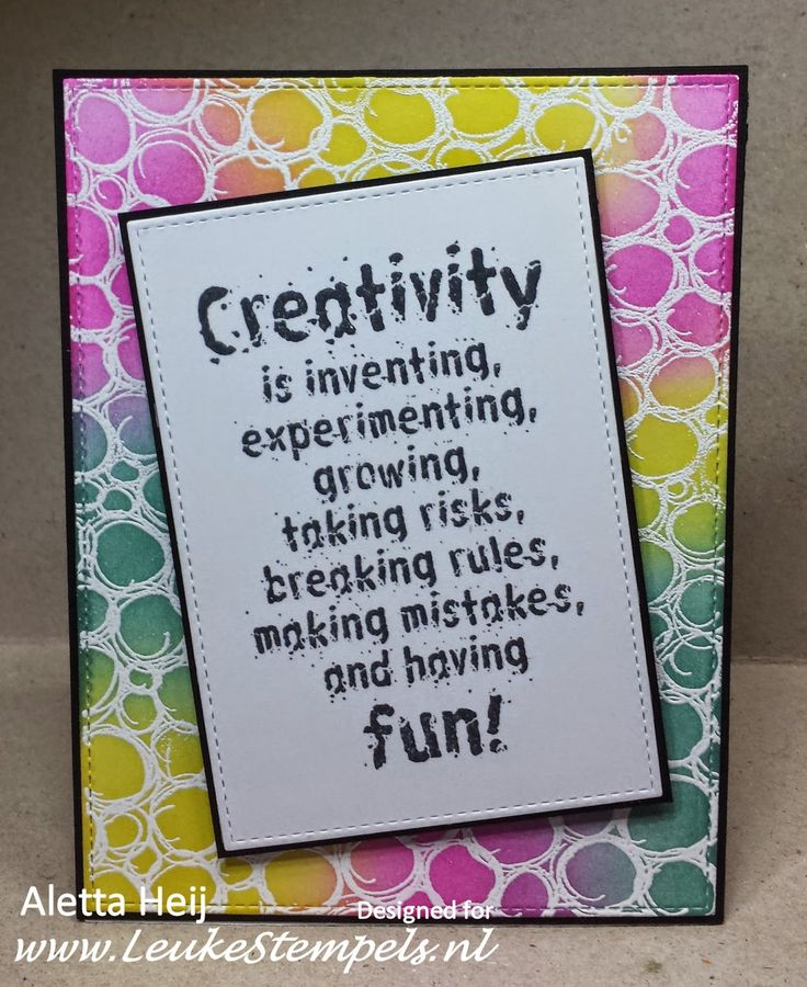 Handmade by Aletta using Darkroom Door Creativity Quote Stamp and Circles Background Stamp.